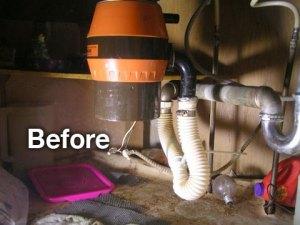 before under sink plumbing