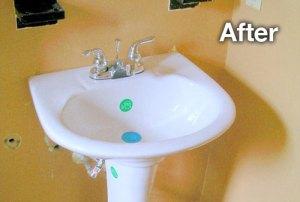 after pedestal sink