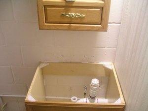 during bathroom remodel